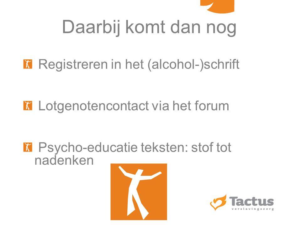 Daarbij komt dan nog Registreren in het (alcohol-)schrift
