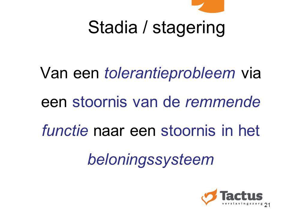 Stadia / stagering Van een tolerantieprobleem via een stoornis van de remmende functie naar een stoornis in het beloningssysteem.