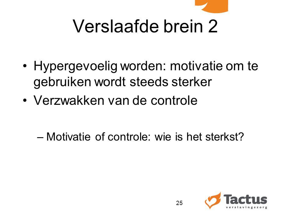 Verslaafde brein 2 Hypergevoelig worden: motivatie om te gebruiken wordt steeds sterker. Verzwakken van de controle.