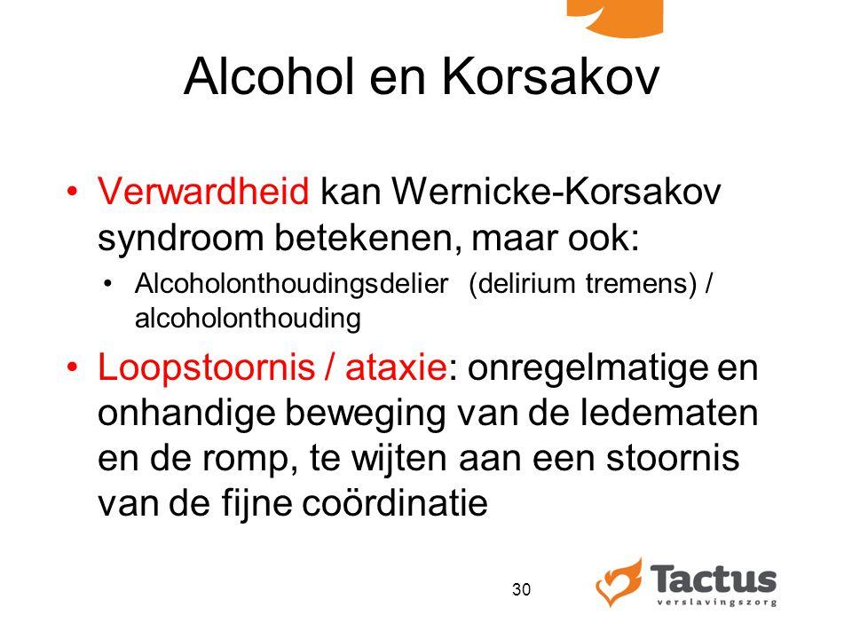 Alcohol en Korsakov Verwardheid kan Wernicke-Korsakov syndroom betekenen, maar ook: Alcoholonthoudingsdelier (delirium tremens) / alcoholonthouding.
