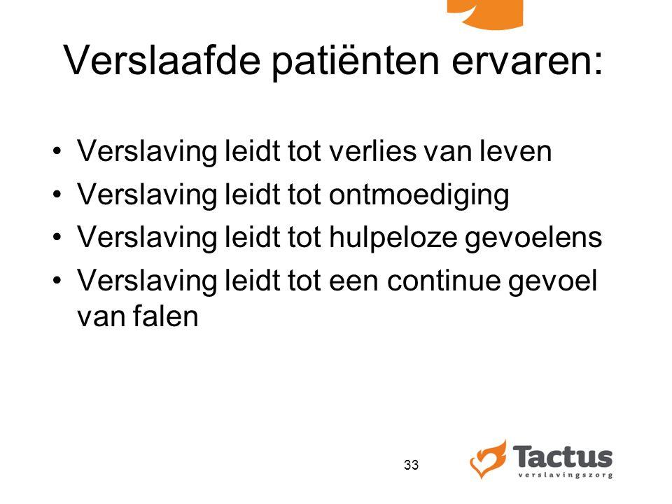 Verslaafde patiënten ervaren: