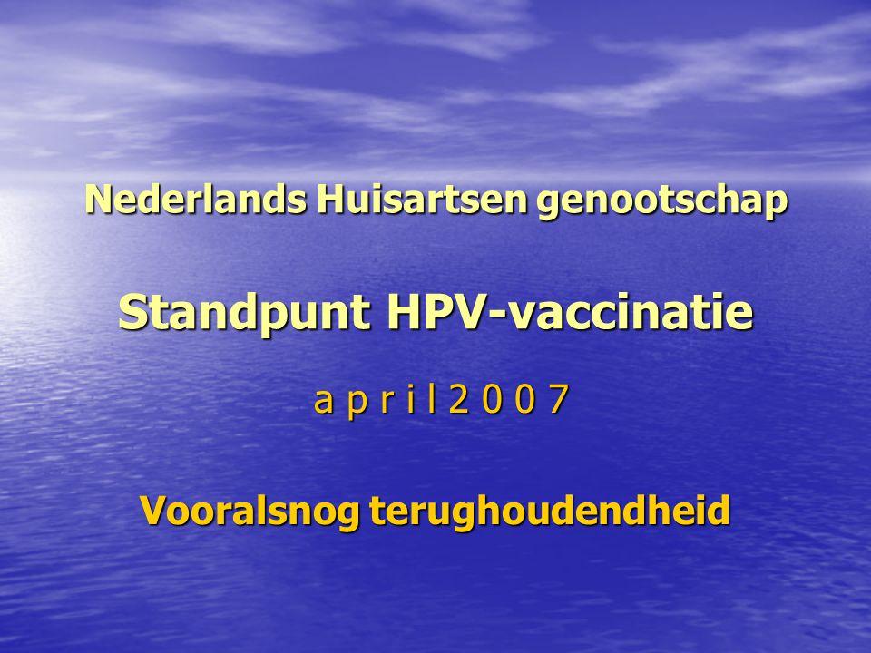 Nederlands Huisartsen genootschap Standpunt HPV-vaccinatie