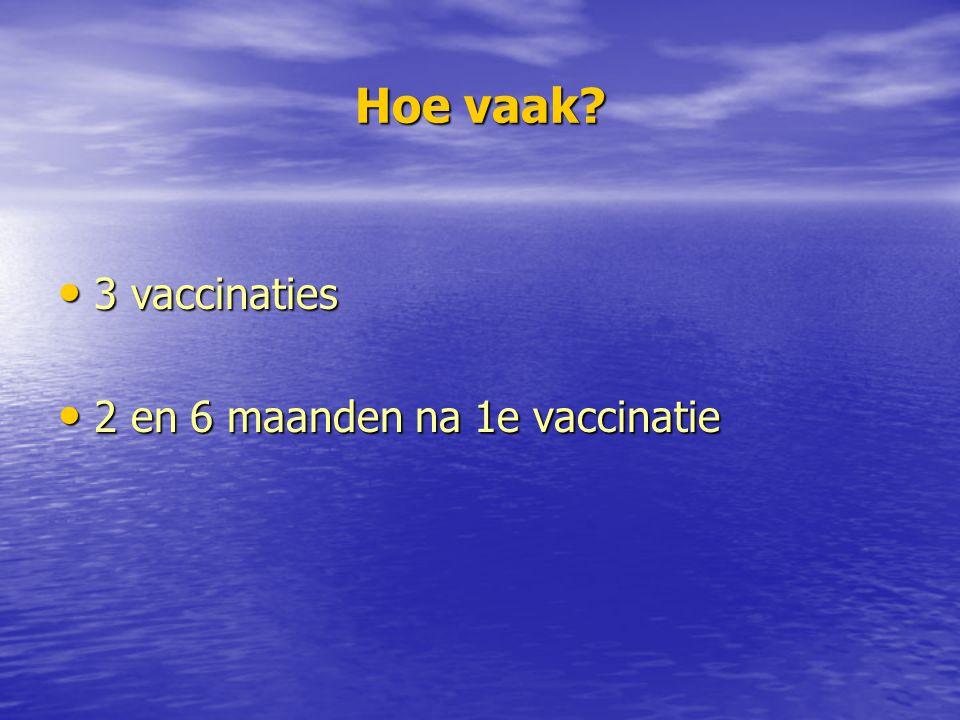 Hoe vaak 3 vaccinaties 2 en 6 maanden na 1e vaccinatie