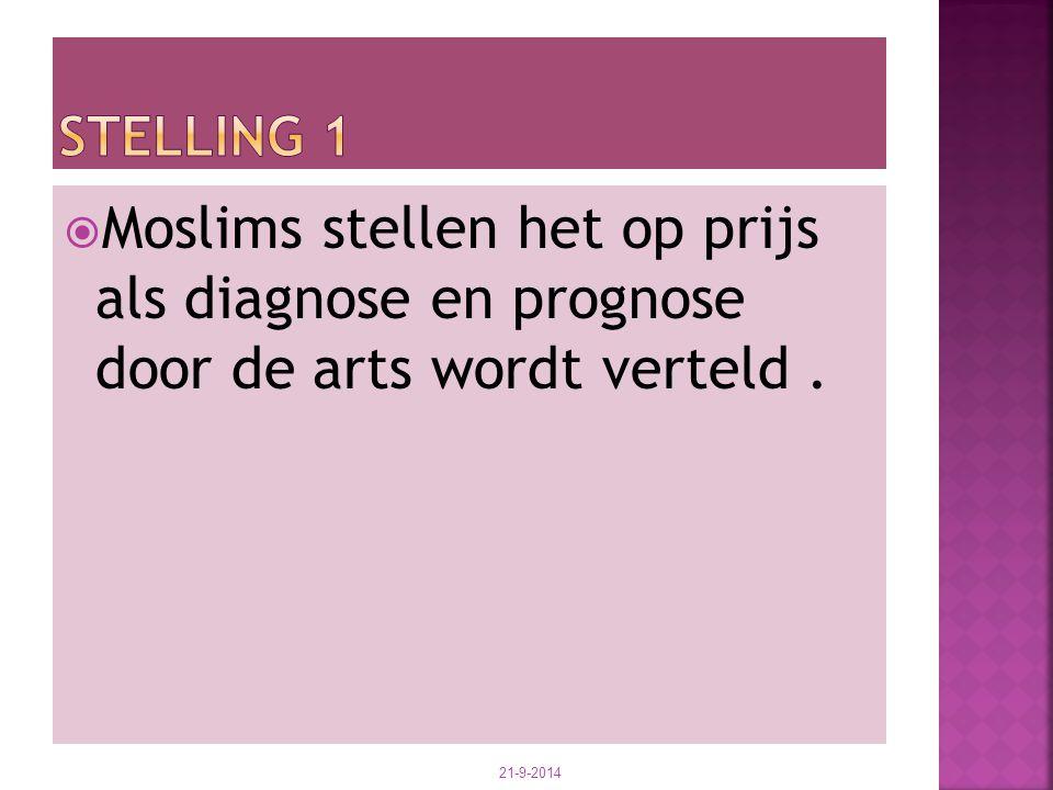 Stelling 1 Moslims stellen het op prijs als diagnose en prognose door de arts wordt verteld .