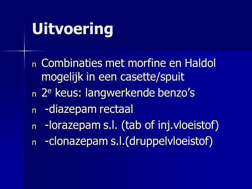Uitvoering Combinaties met morfine en Haldol mogelijk in een casette/spuit. 2e keus: langwerkende benzo's.