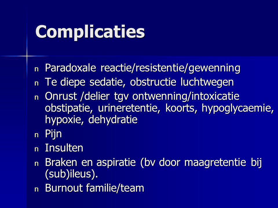Complicaties Paradoxale reactie/resistentie/gewenning
