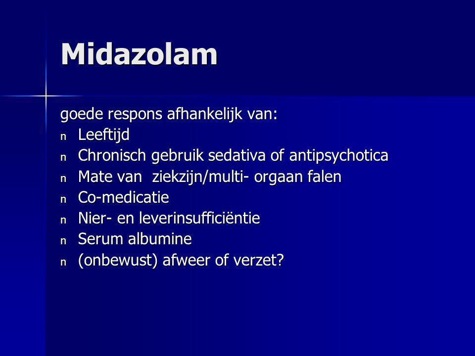 Midazolam goede respons afhankelijk van: Leeftijd
