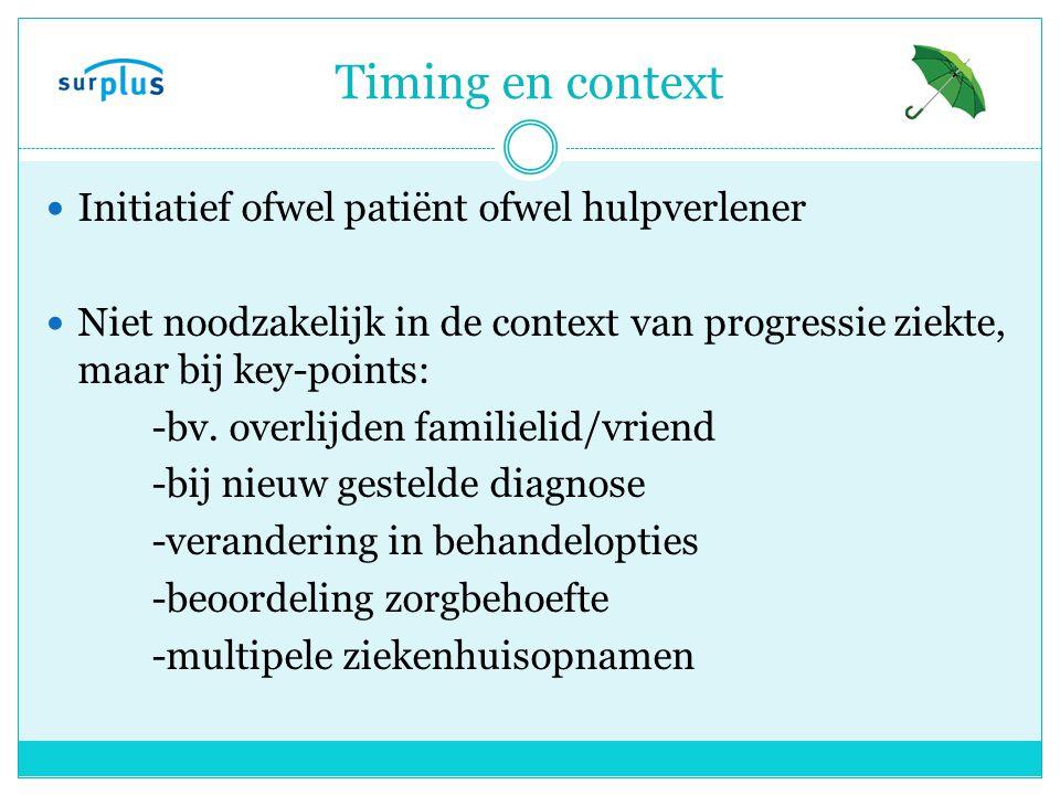 Timing en context Initiatief ofwel patiënt ofwel hulpverlener
