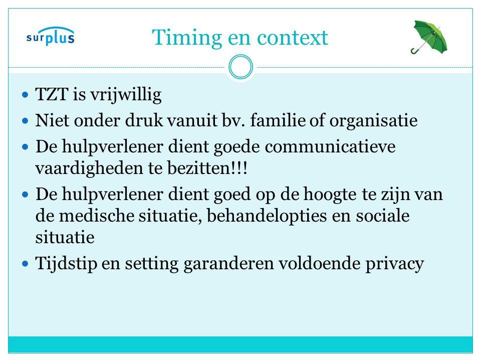 Timing en context TZT is vrijwillig