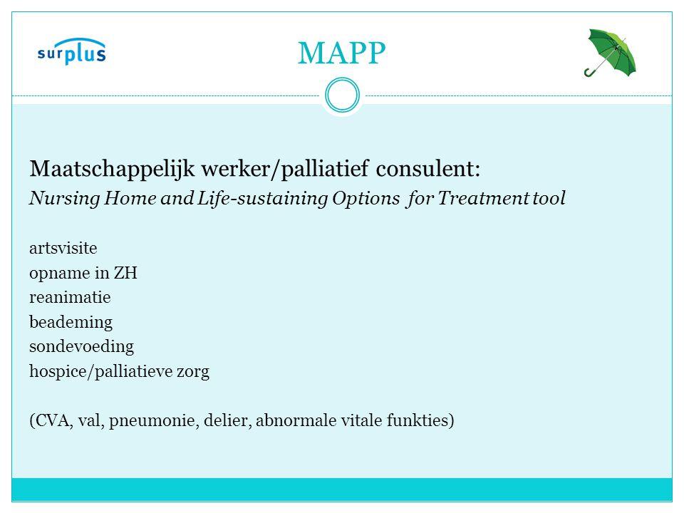 MAPP Maatschappelijk werker/palliatief consulent: