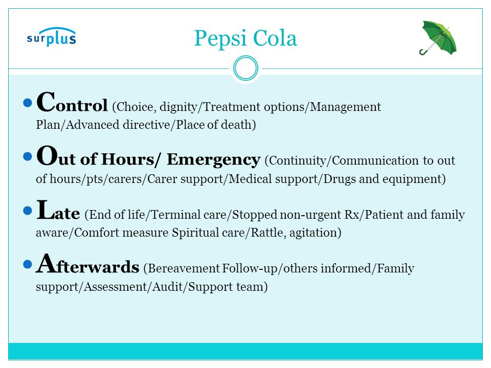 Pepsi Cola Control (Choice, dignity/Treatment options/Management Plan/Advanced directive/Place of death)