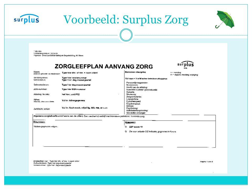 Voorbeeld: Surplus Zorg