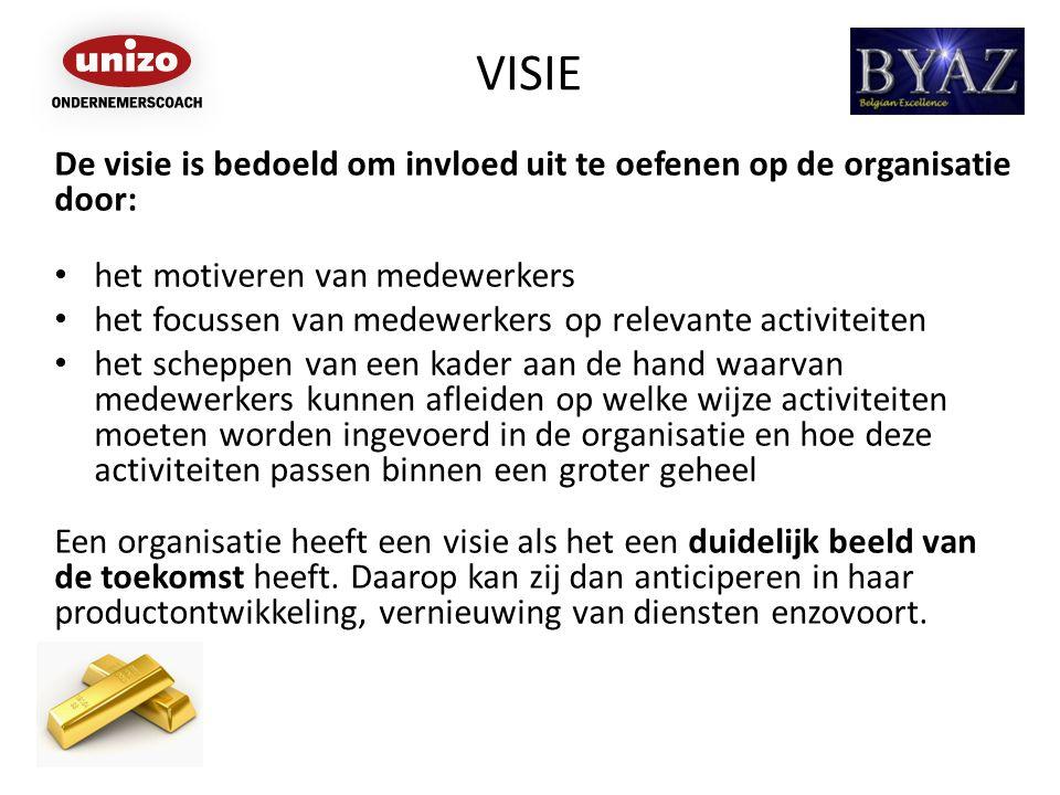 VISIE De visie is bedoeld om invloed uit te oefenen op de organisatie door: het motiveren van medewerkers.