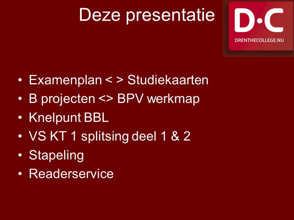 Deze presentatie Examenplan < > Studiekaarten