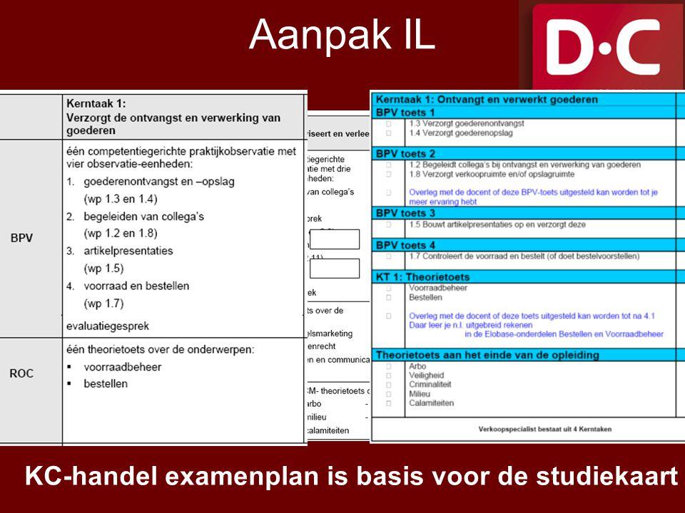 Aanpak IL = KC-handel examenplan is basis voor de studiekaart