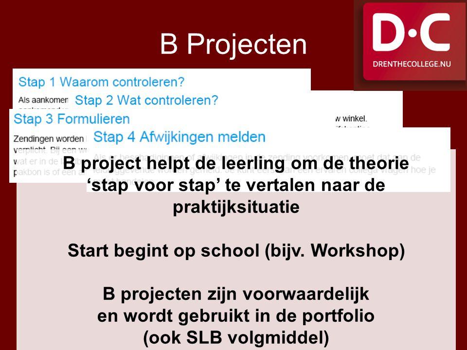 B Projecten B project helpt de leerling om de theorie 'stap voor stap' te vertalen naar de praktijksituatie.