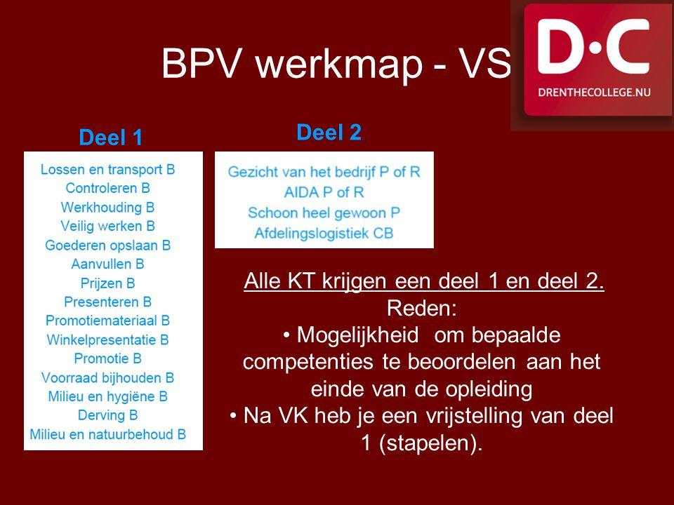 BPV werkmap - VS Deel 2 Deel 1 Alle KT krijgen een deel 1 en deel 2.