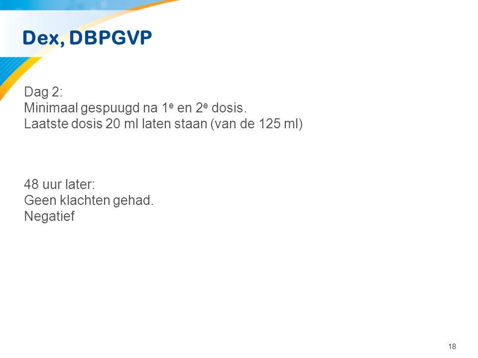 Dex, DBPGVP Dag 2: Minimaal gespuugd na 1e en 2e dosis.