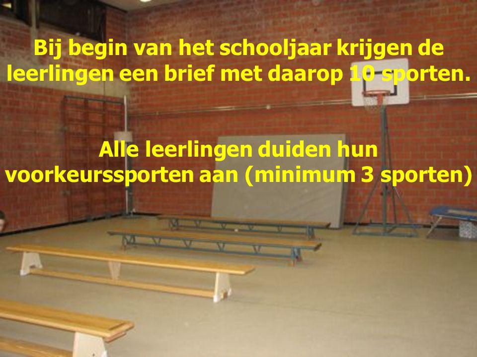 Alle leerlingen duiden hun voorkeurssporten aan (minimum 3 sporten)