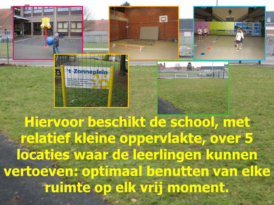 Hiervoor beschikt de school, met relatief kleine oppervlakte, over 5 locaties waar de leerlingen kunnen vertoeven: optimaal benutten van elke ruimte op elk vrij moment.