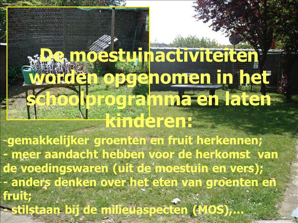 De moestuinactiviteiten worden opgenomen in het schoolprogramma en laten kinderen:
