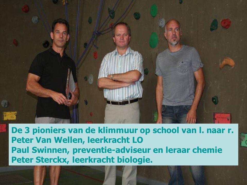 De 3 pioniers van de klimmuur op school van l. naar r