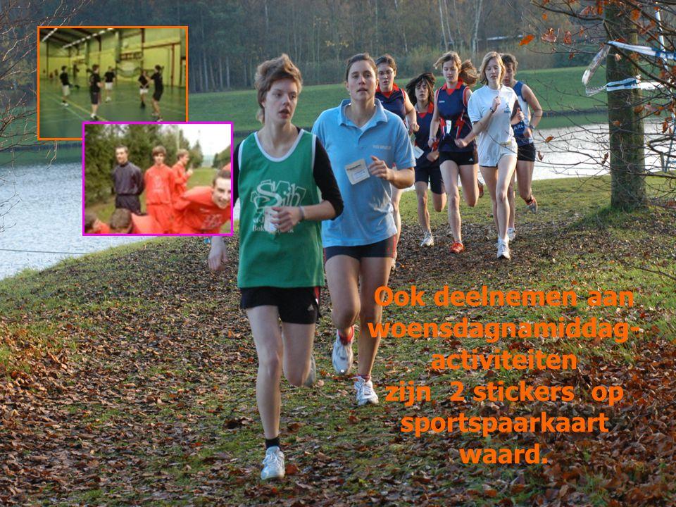 Ook deelnemen aan woensdagnamiddag- activiteiten zijn 2 stickers op sportspaarkaart waard.