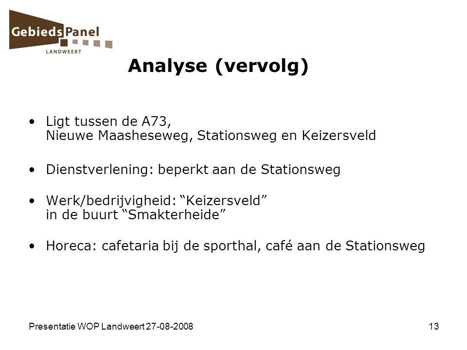 Analyse (vervolg) Ligt tussen de A73, Nieuwe Maasheseweg, Stationsweg en Keizersveld. Dienstverlening: beperkt aan de Stationsweg.