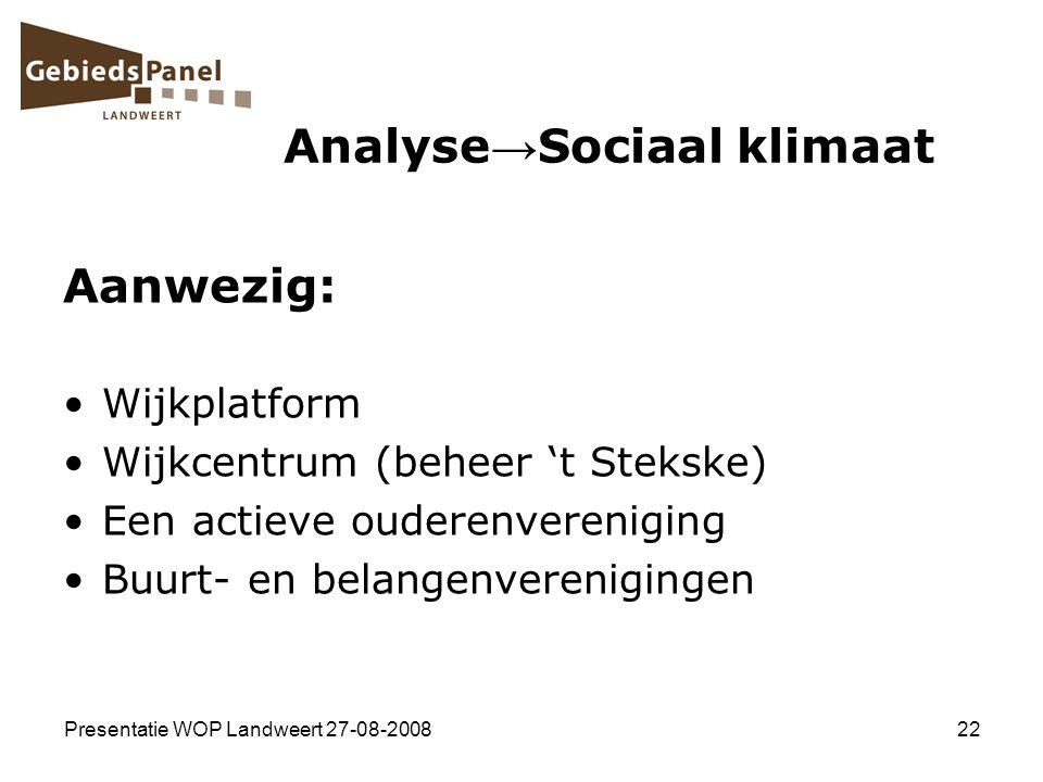 Analyse→Sociaal klimaat
