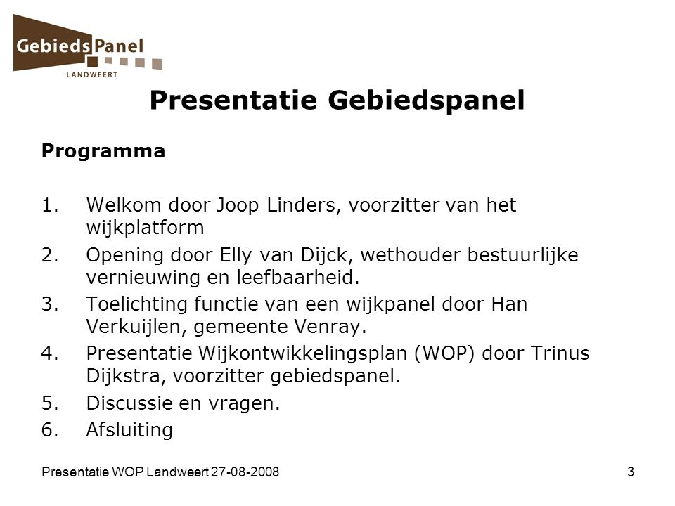 Presentatie Gebiedspanel