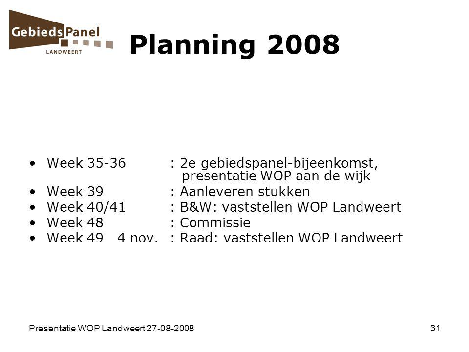 Planning 2008 Week 35-36 : 2e gebiedspanel-bijeenkomst, presentatie WOP aan de wijk.