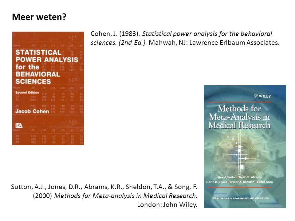 Meer weten Cohen, J. (1983). Statistical power analysis for the behavioral sciences. (2nd Ed.). Mahwah, NJ: Lawrence Erlbaum Associates.