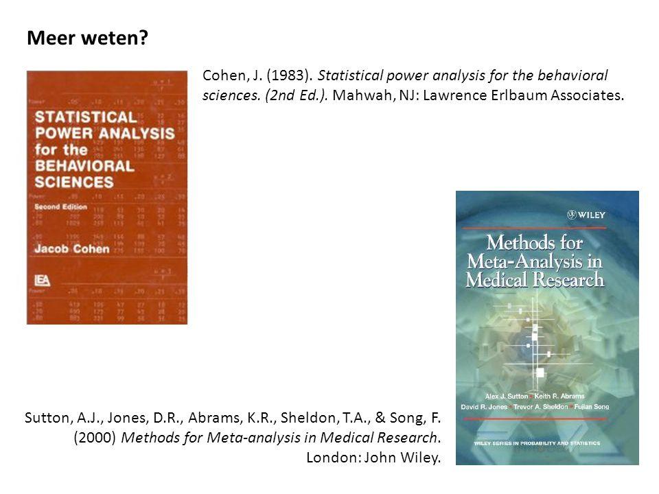 Meer weten Cohen, J. (1983). Statistical power analysis for the behavioral sciences. (2nd Ed.). Mahwah, NJ: Lawrence Erlbaum Associates.