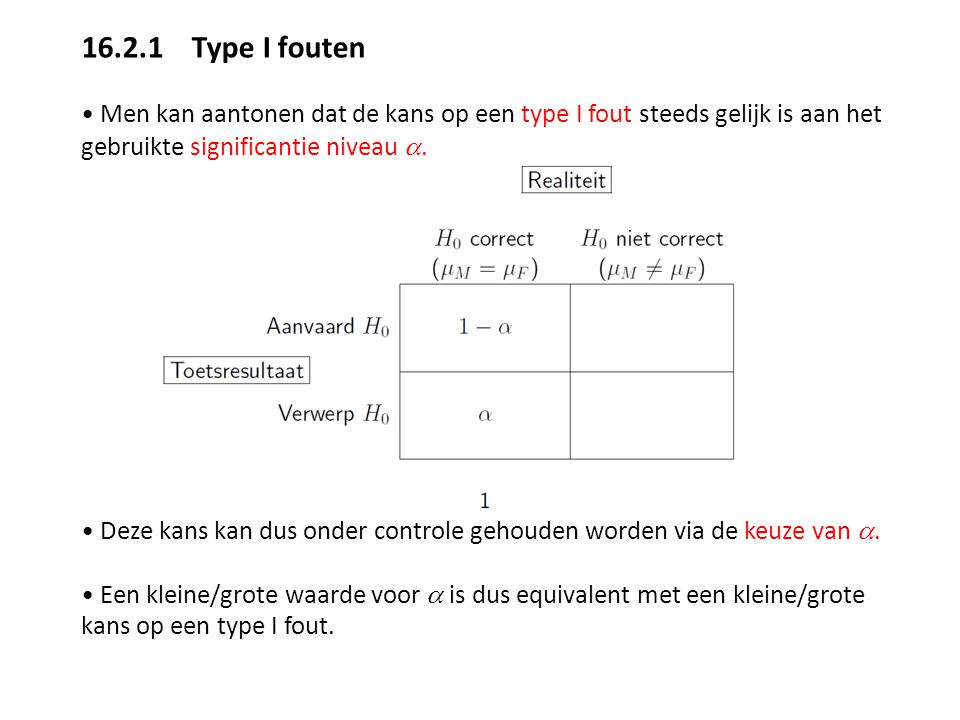 16.2.1 Type I fouten • Men kan aantonen dat de kans op een type I fout steeds gelijk is aan het gebruikte significantie niveau a.