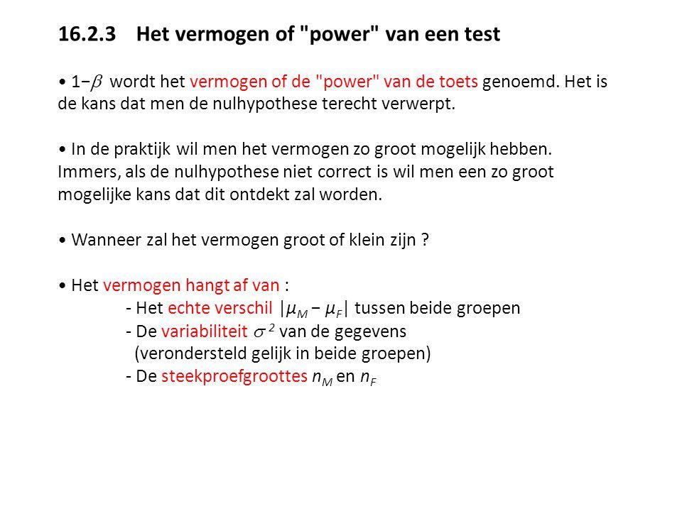 16.2.3 Het vermogen of power van een test