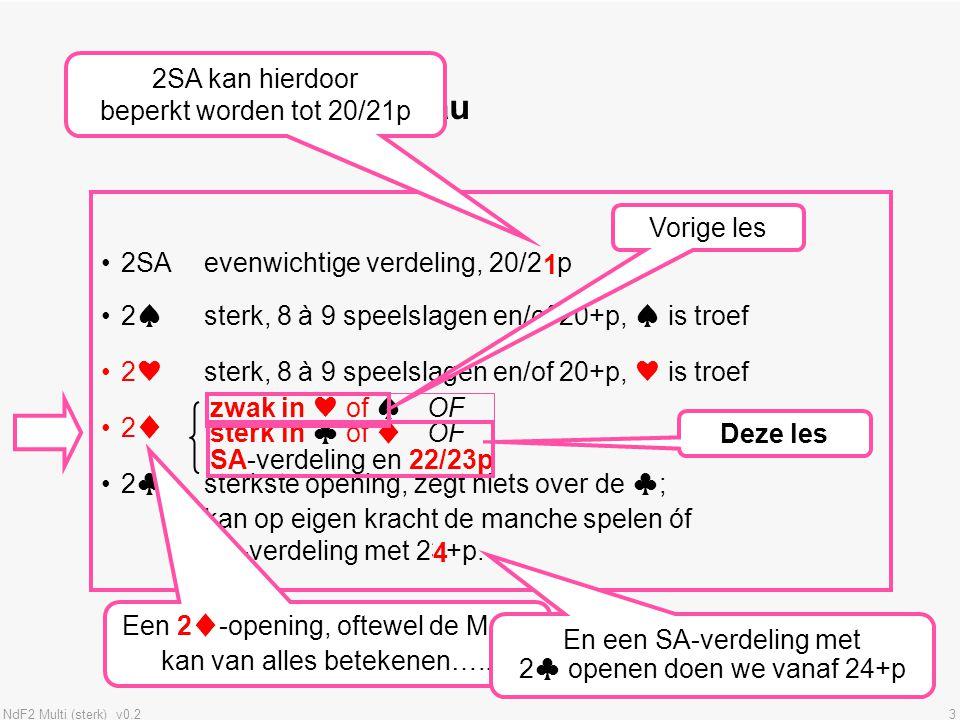 Openingen op 2-niveau 2SA kan hierdoor beperkt worden tot 20/21p