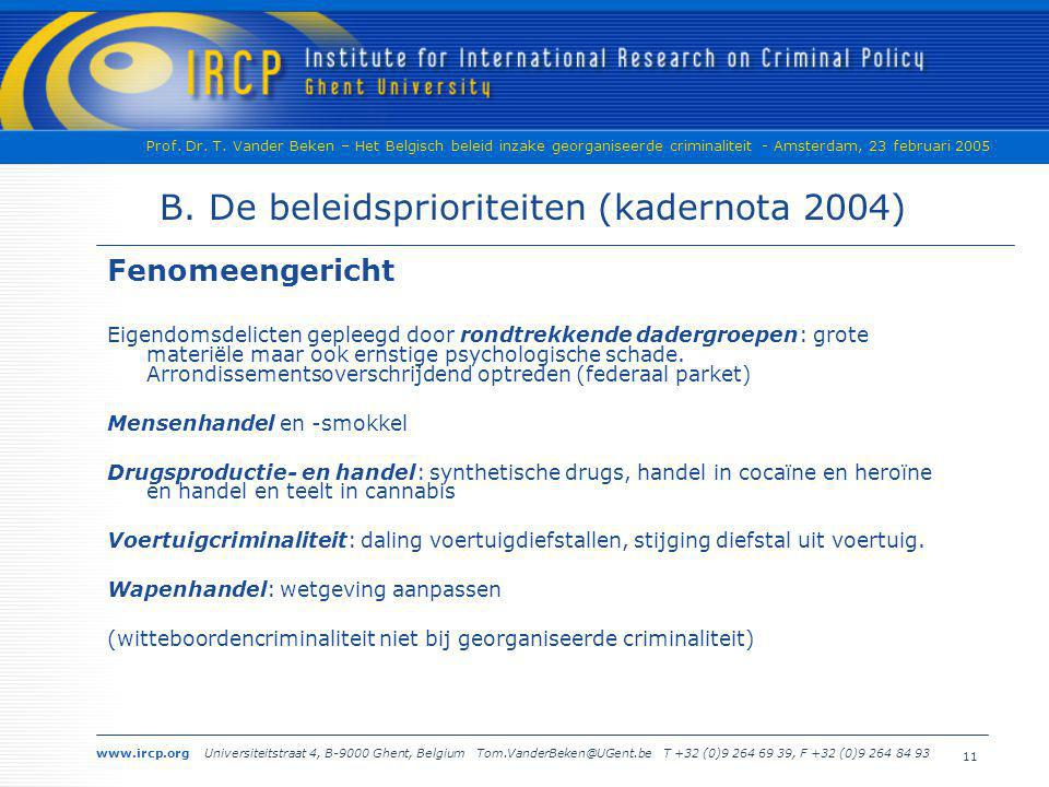 B. De beleidsprioriteiten (kadernota 2004)