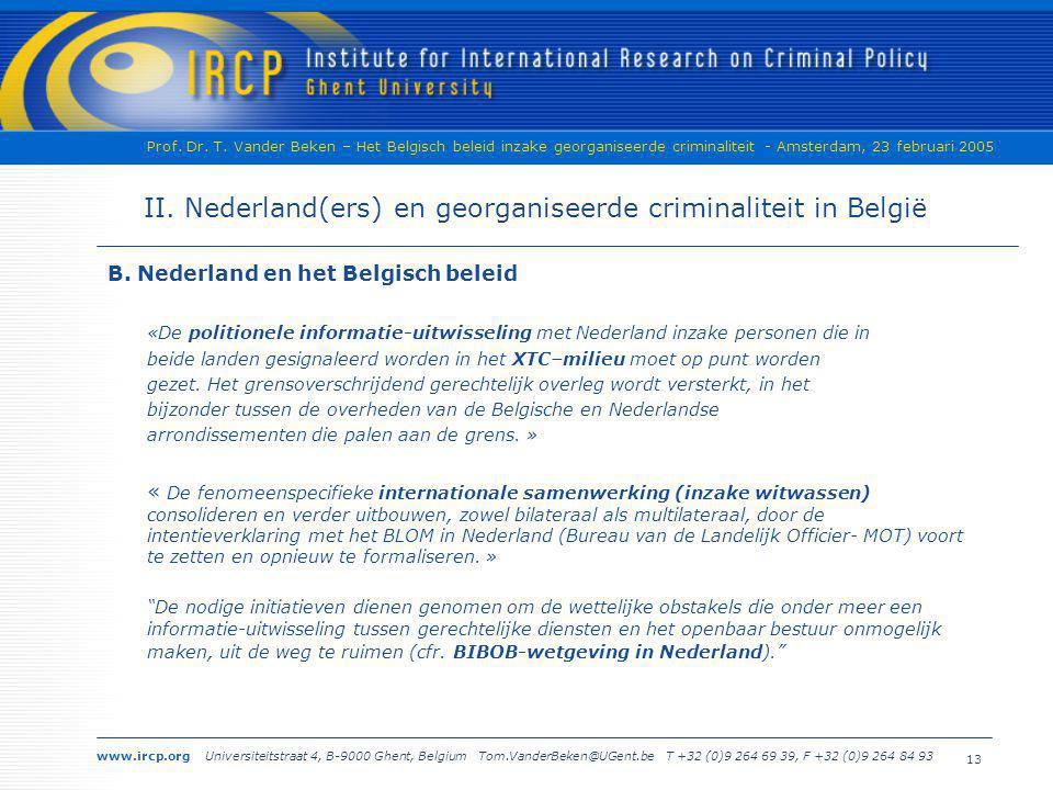 II. Nederland(ers) en georganiseerde criminaliteit in België
