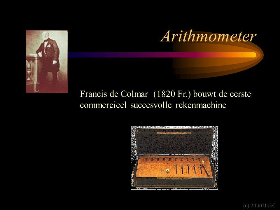 Arithmometer Francis de Colmar (1820 Fr.) bouwt de eerste commercieel succesvolle rekenmachine.