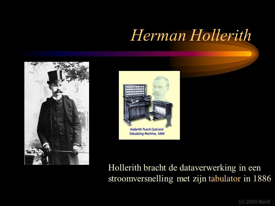 Herman Hollerith Hollerith bracht de dataverwerking in een stroomversnelling met zijn tabulator in 1886.