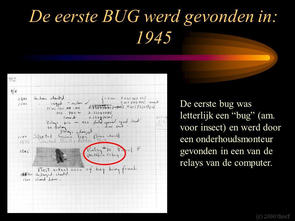 De eerste BUG werd gevonden in: 1945