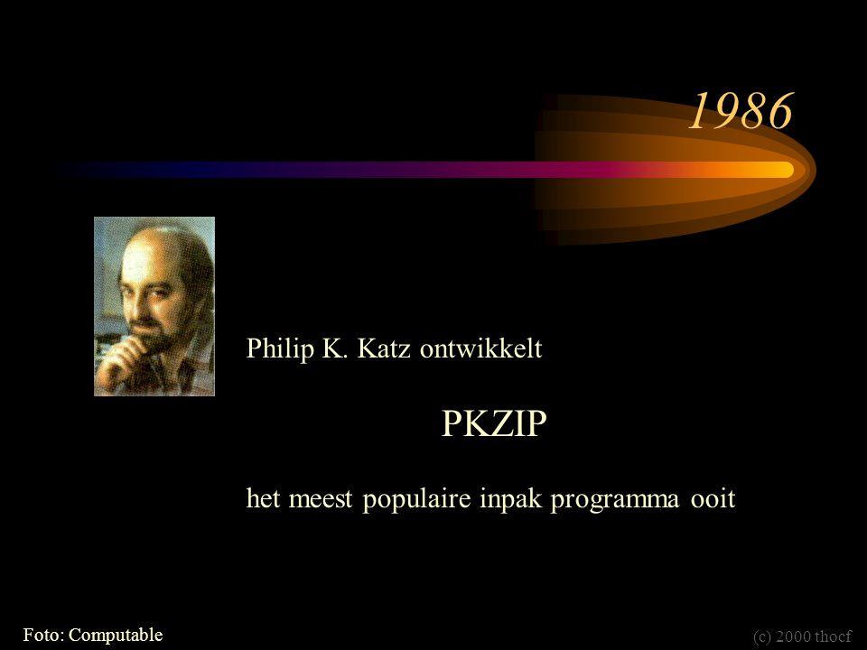 1986 Philip K. Katz ontwikkelt PKZIP