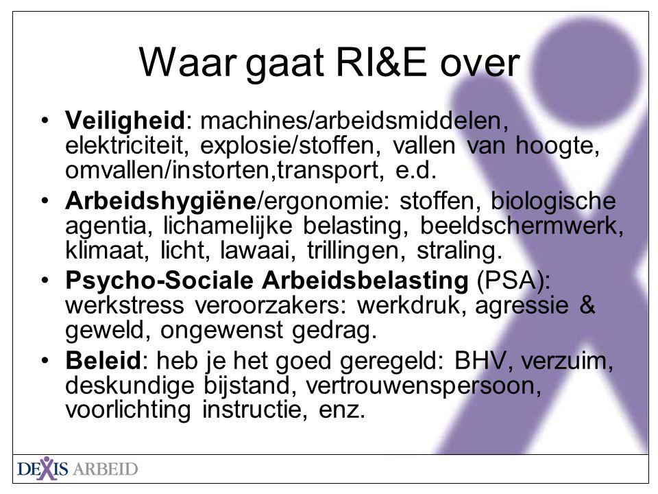Waar gaat RI&E over Veiligheid: machines/arbeidsmiddelen, elektriciteit, explosie/stoffen, vallen van hoogte, omvallen/instorten,transport, e.d.