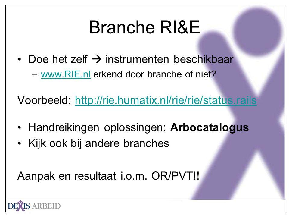 Branche RI&E Doe het zelf  instrumenten beschikbaar