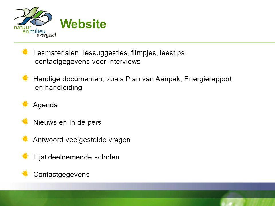 Website Lesmaterialen, lessuggesties, filmpjes, leestips, contactgegevens voor interviews.
