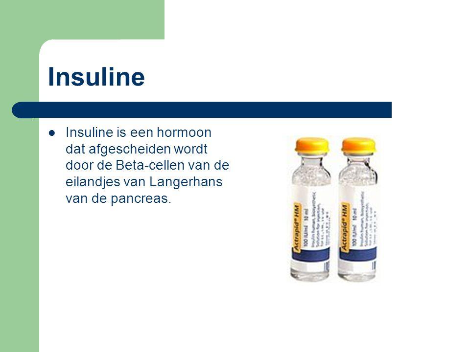 Insuline Insuline is een hormoon dat afgescheiden wordt door de Beta-cellen van de eilandjes van Langerhans van de pancreas.