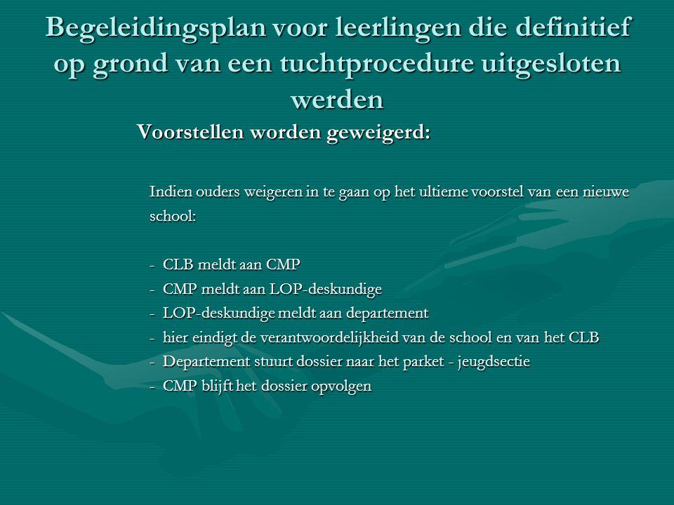 Begeleidingsplan voor leerlingen die definitief op grond van een tuchtprocedure uitgesloten werden