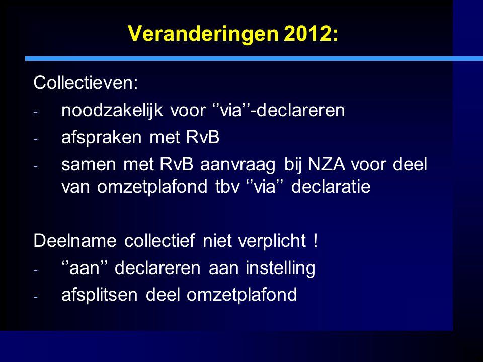 Veranderingen 2012: Collectieven: noodzakelijk voor ''via''-declareren