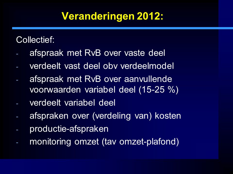 Veranderingen 2012: Collectief: afspraak met RvB over vaste deel