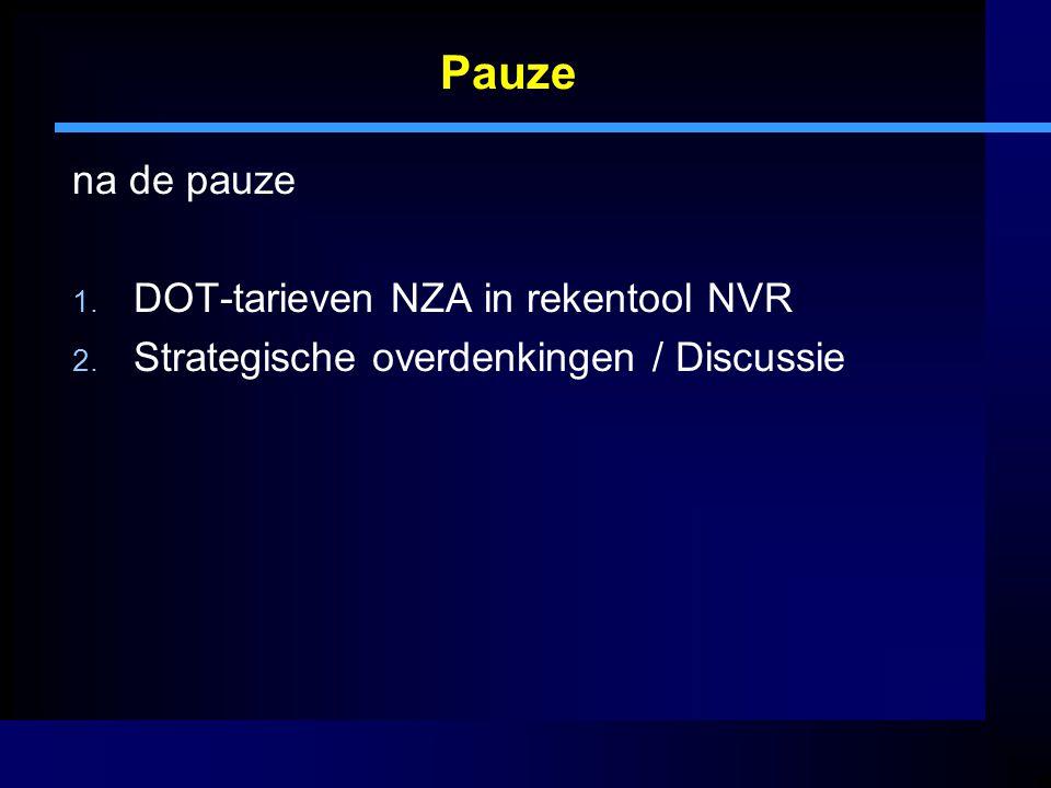 Pauze na de pauze DOT-tarieven NZA in rekentool NVR